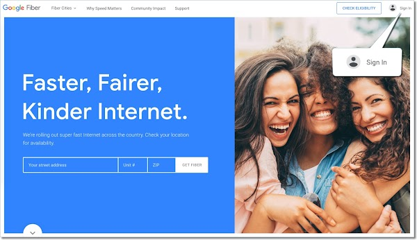 Sign in to Google Fiber home page with your Google account.
