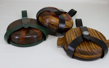 "Photo: Mike Colella 7"" bowls with leather covers [assorted woods]"