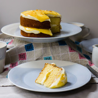Orange Layer Cake With Orange Curd + Sweet Mascarpone Cream
