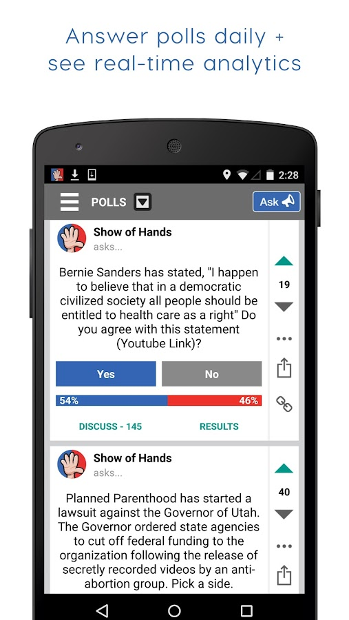 Show of Hands Polls & Politics- screenshot