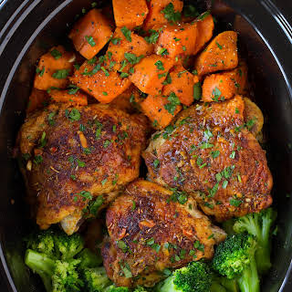 Slow Cooker Chicken with Sweet Potatoes and Broccoli.