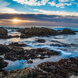 Point Asilomar Sunset by Mike Lee - Landscapes Sunsets & Sunrises ( monterey, blue, monterey california, waves, sunset, asilomar beach, beach, rocks,  )