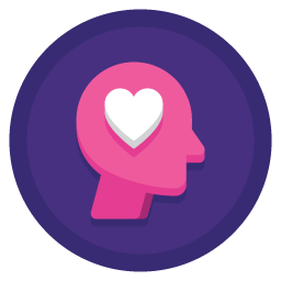 pink person icon with heart for engagement