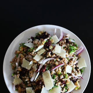 Farro Salad with Walnuts, Dried Cranberries and Parmesan.