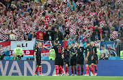 Croatia players celebrate a goal during the 2018 FIFA World Cup Russia Semi Final match between England and Croatia at Luzhniki Stadium on July 11, 2018 in Moscow, Russia.