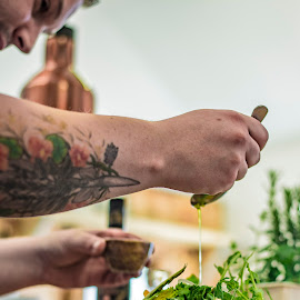 Salad Preparation by Jamie Ledwith - Food & Drink Cooking & Baking ( tattoo, salad, olive oil, drizzle, preparation )