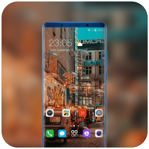 Theme for landscape city alley light wallpaper icon