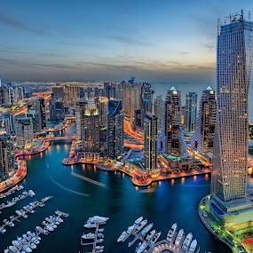 Marina Bay by Ashraf Jandali - Buildings & Architecture Homes ( digital blending, tower, dubai, sunset, buildings, cloudy, rooftop, marina, infinity,  )