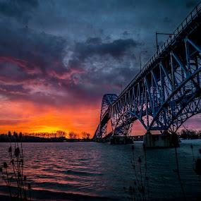 Black Friday Morning by John Witt - Buildings & Architecture Bridges & Suspended Structures ( buffalo ny, niagara river, sunrise, bridges, south grand island bridge )