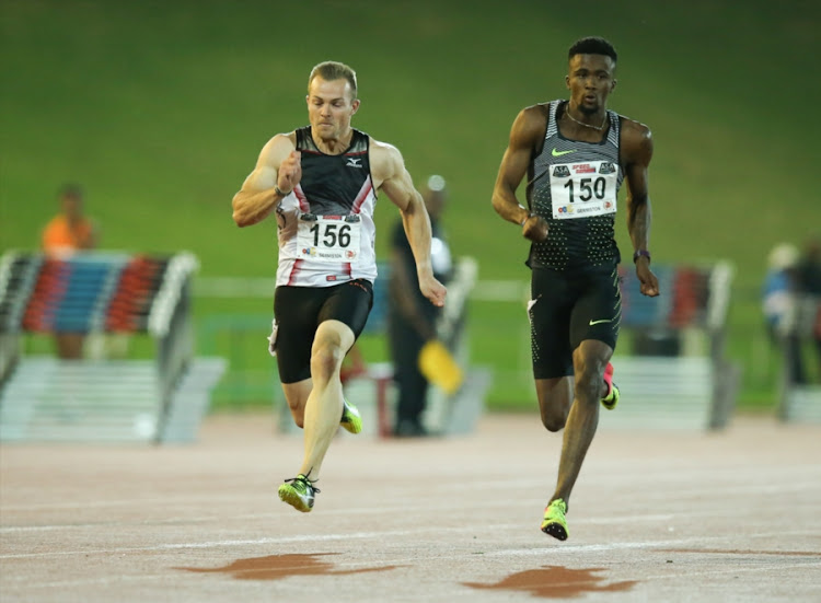 LeRoux van Tonder and Anaso Jobodwana in the men's 100m during the ASA Speed Series 4 at Germiston Stadium on March 22, 2017 in Johannesburg, South Africa.