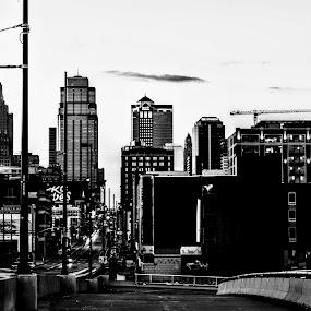 Kansas City Street View by Travis Wessel - City,  Street & Park  Street Scenes ( city scape, c, streets, city, street, street view, skyscraper, black and white )