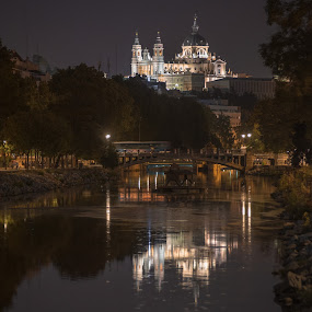 Catedral de la Almudena, Madrid by Christian Diboky - City,  Street & Park  Historic Districts ( manzanares, madrid, madrid rio, night, cathedral, almudena, river )