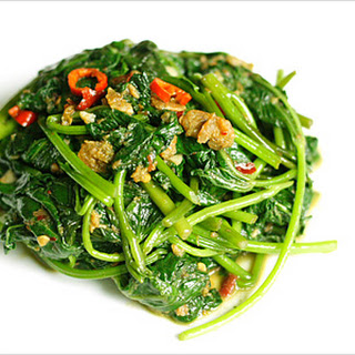 Stir-fried Yam Leaf (Sweet Potato Leaf) with Belacan (Shrimp Paste)
