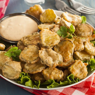 French Fried Pickles Using Pancake Mix.