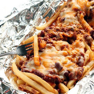 Campfire Chili Cheese Fries Tin Foil Dinner.