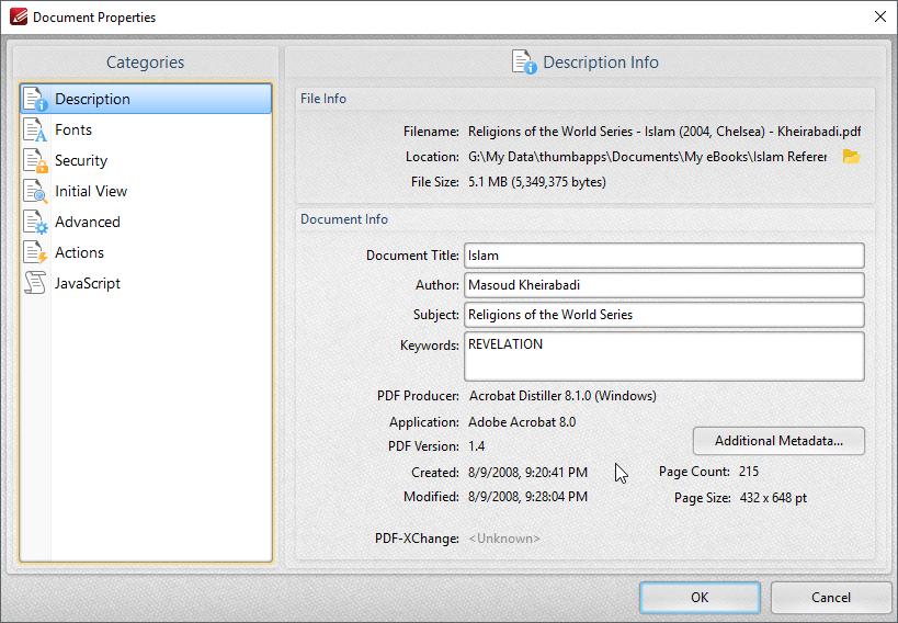 thumbapps.org PDF-XChange Editor portable, Document Properties...