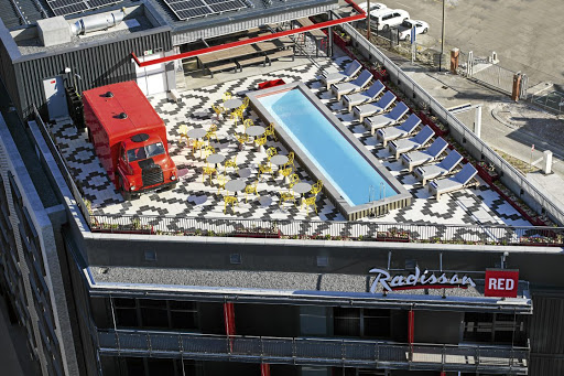Radisson RED's roof, with a truck dispensing local brews, is open to the public.
