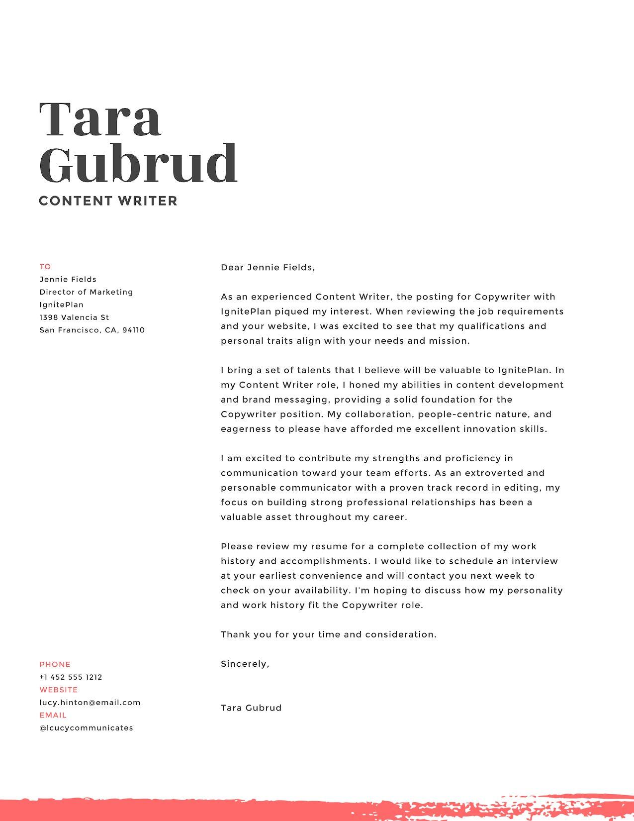 Tara Gubrud - Cover Letter Template