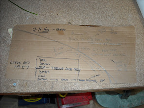 Photo: Tail template and measurements for the pin lines, colors, and other notes to myself