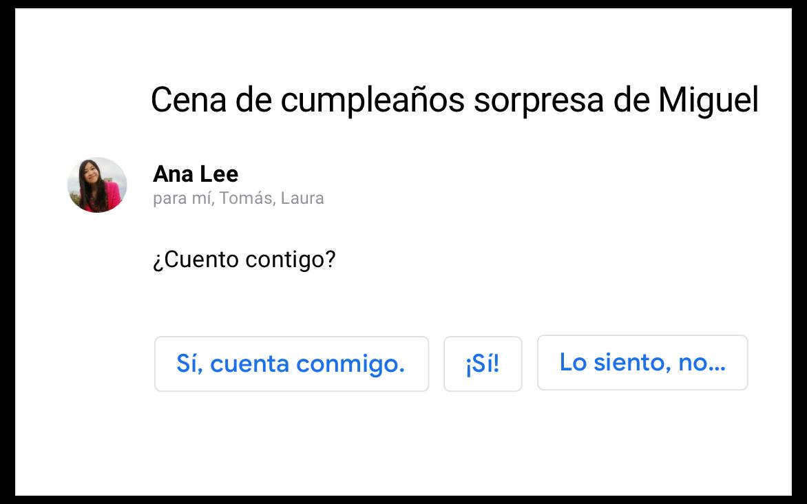 Ejemplo de respuestas predeterminadas en Gmail