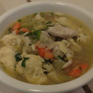 chicken soup with German-style dumplings
