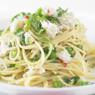 Spicy Crab Cilantro Spaghettini.