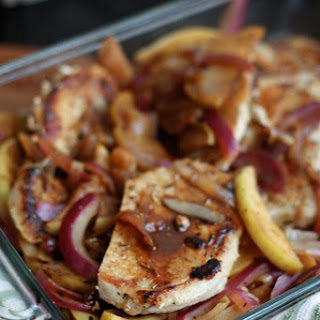 Hard Cider Pork Chops with Apples and Onions.