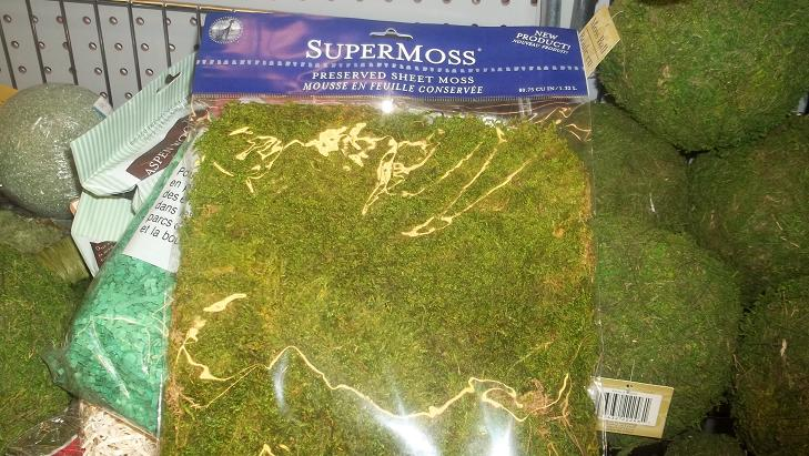 Photo: This is the stuff! Moss sheet fabric... it comes in rolls they were out at Michaels so I picked it up from JoAnns with a 60% off coupon. Make sure you always look for any extra savings you can get!!