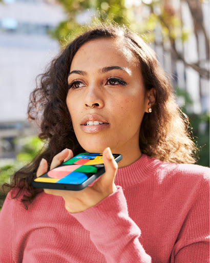 Stylish woman talks on a video call with her Pixel.