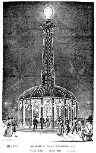 Lamp exhibit at World's Fair, Chicago, 1893