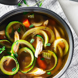 Simple Chicken Soup with Zucchini Noodles.