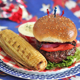 Red, White, and Blue Cheese Stuffed Burgers.