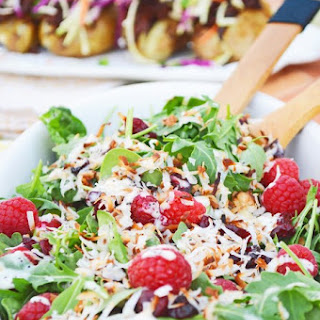 Raspberry and Toasted Coconut Spinach and Arugula Salad.