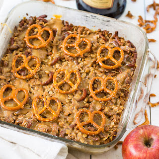 Whiskey Caramel Apple Crisp with Pretzel Crumble