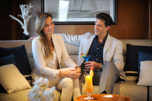 Relax in the lounge of the small sailing yacht Le Ponant.