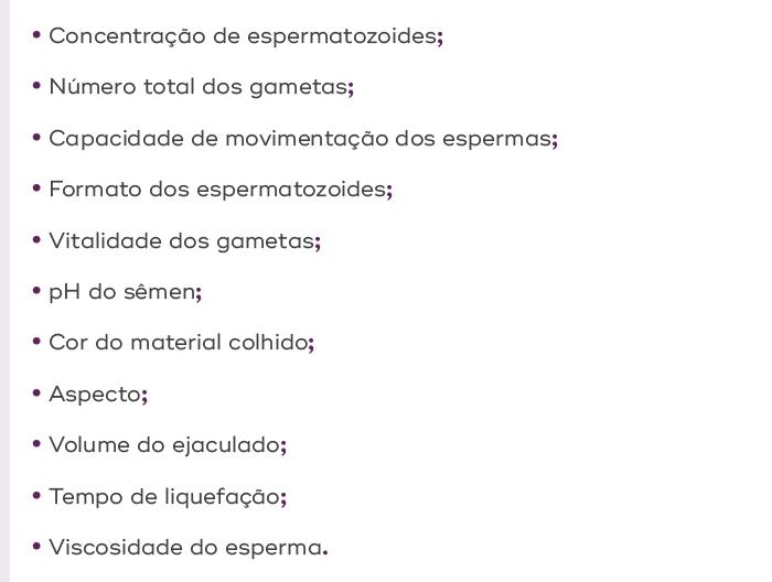 Critérios utilizados em análise seminal