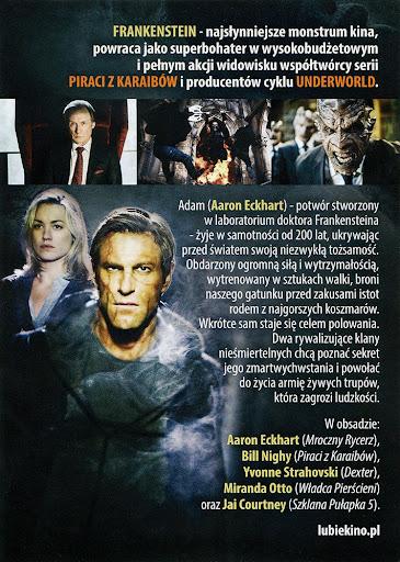 Tył ulotki filmu 'Ja, Frankenstein'