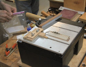 Photo: This miniature table saw is the key to cutting the pieces accurately.