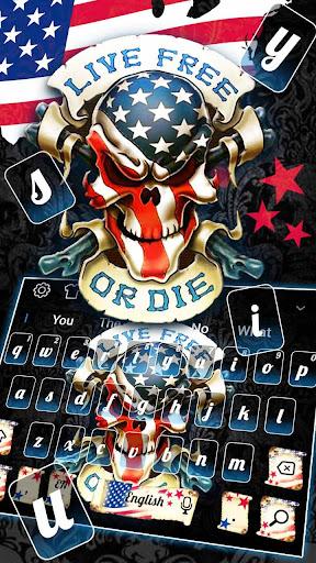 Live or die USA Skull Keyboard Theme 10001002 screenshots 1
