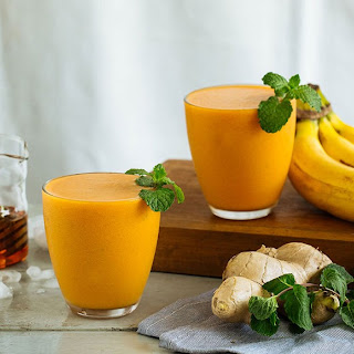 Carrot Smoothie Spiced with Ginger and Turmeric