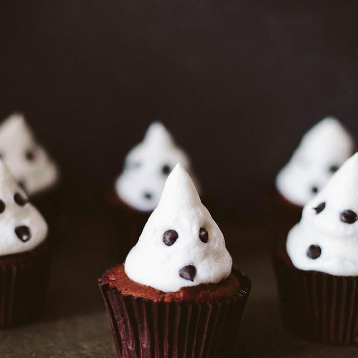 Vegan Dark Chocolate Cupcakes with Marshmallow Ghosts! Recipe
