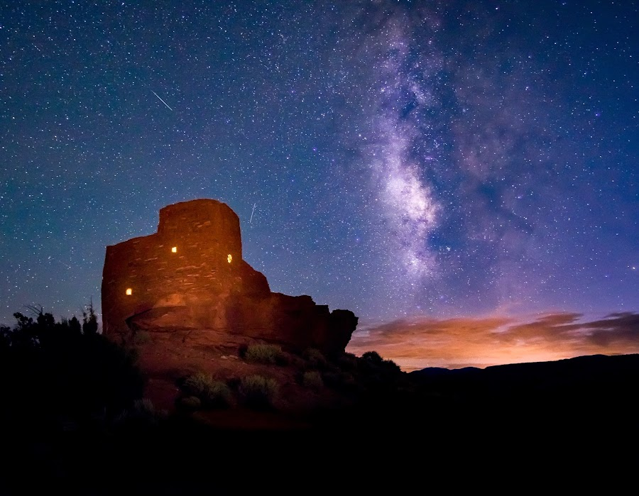 by Karen Martin - Buildings & Architecture Decaying & Abandoned ( night photography, indian ruins, flagstaff, arizona )
