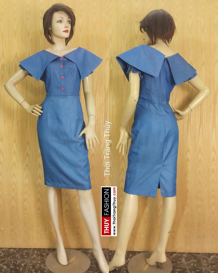Váy bút chì cổ cách điệu xòe cánh V677 thời trang thủy sài gòn