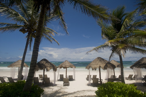 Beach cabanas beckon at Hotel Jose y Ana, an upscale establishment on Tulum Beach that also sports a restaurant perfect for an elegant lunch.