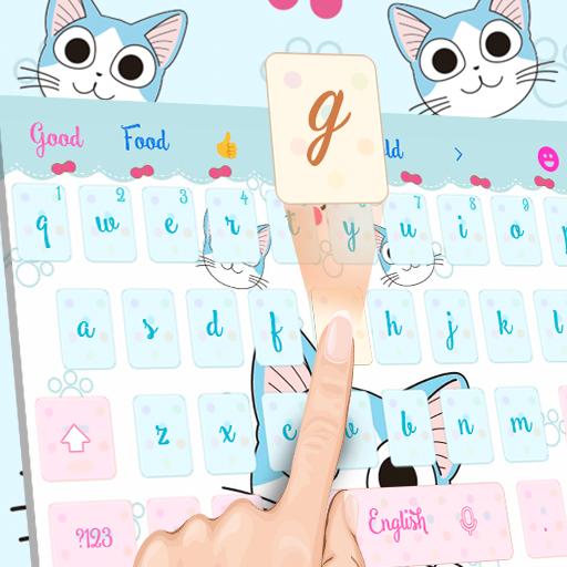 Cartoon blue cute kitty emoji theme keyboard