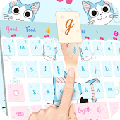 Cartoon blue cute kitty emoji theme keyboard