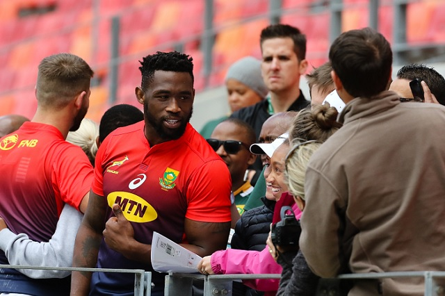 Local hero Siya Kolisi greets fans at the captain's run at Nelson Mandela Bay Stadium before the Boks face the Wallabies on Saturday