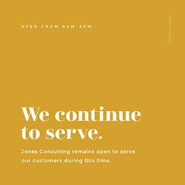 We Continue to Serve - Instagram Post item