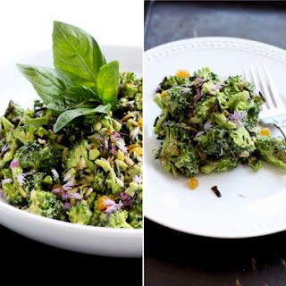 Broccoli Salad With Sprouted Wild Rice And Citrusy Avocado & Basil Dressing.