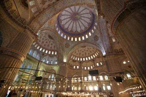 Blue-Mosque-interior-8.jpg -  Another view of the surreal-looking Sultan Ahmed Mosque, or Blue Mosque, in Istanbul.